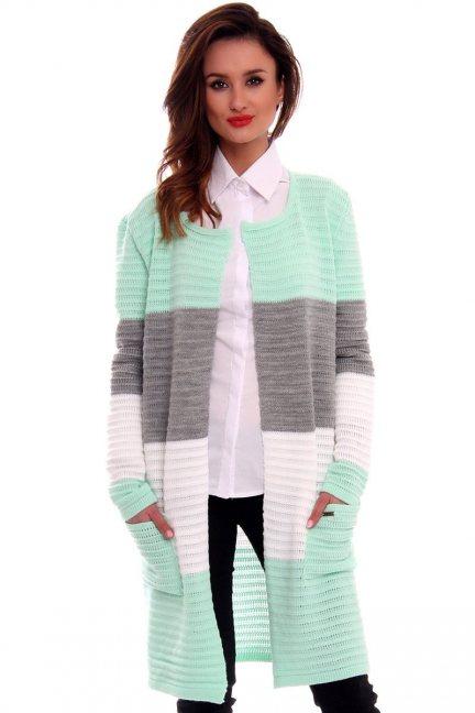 Sweter oversize kardigan w pasy CMK2046 miętowy
