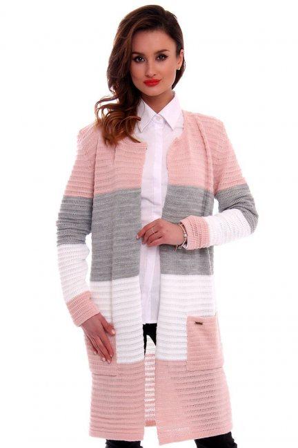 Sweter oversize kardigan w pasy CMK2046 brudny róż