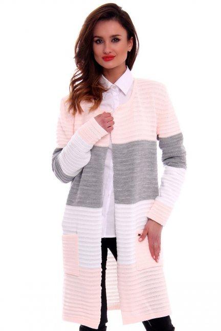 Sweter oversize kardigan w pasy CMK2046 pudrowy róż
