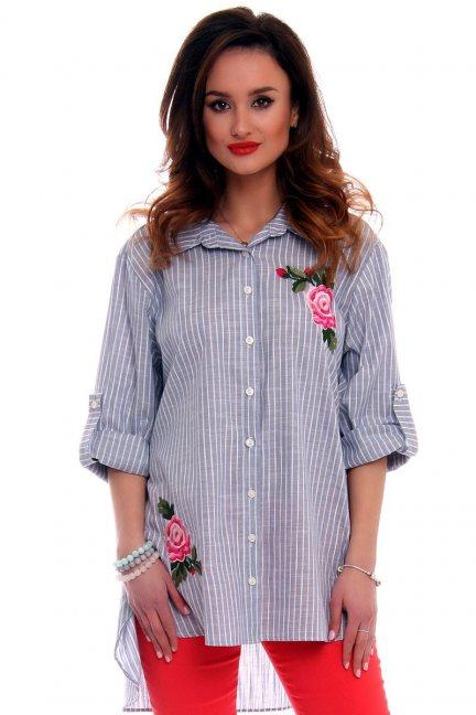 Koszula asymetryczna z różami CMK524 niebieska