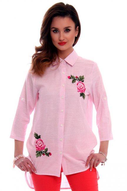 Koszula asymetryczna z różami CMK524 różowa