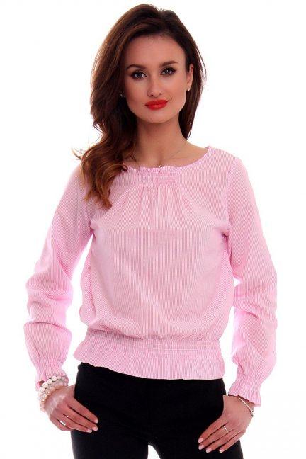 Bluzka damska w paseczki CMK525 różowa