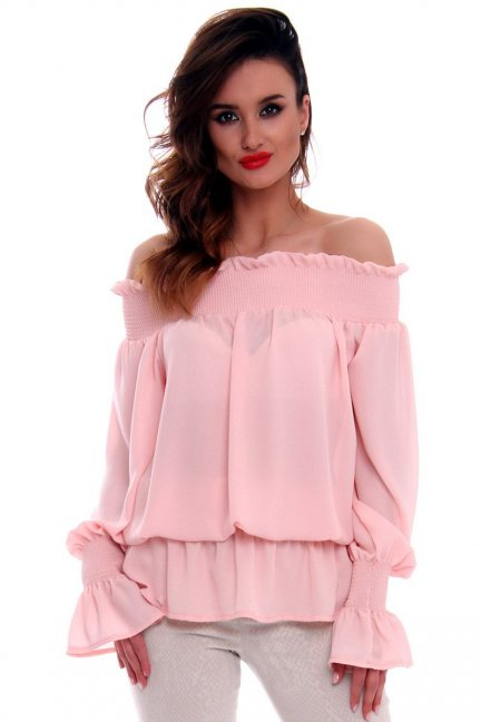 Bluzka hiszpanka falbanki CMK526 różowa