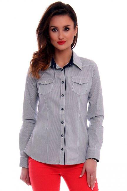 Koszula damska w paski CMK67 czarna