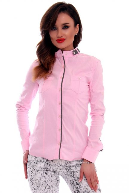 Koszula damska ze stójką CMK68 różowa
