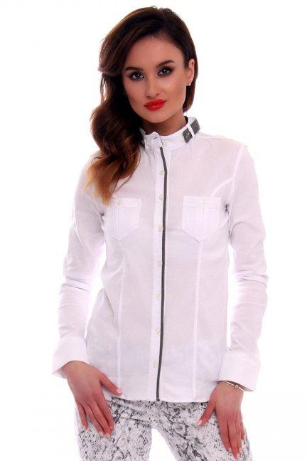 Koszula damska ze stójką CMK68 biała