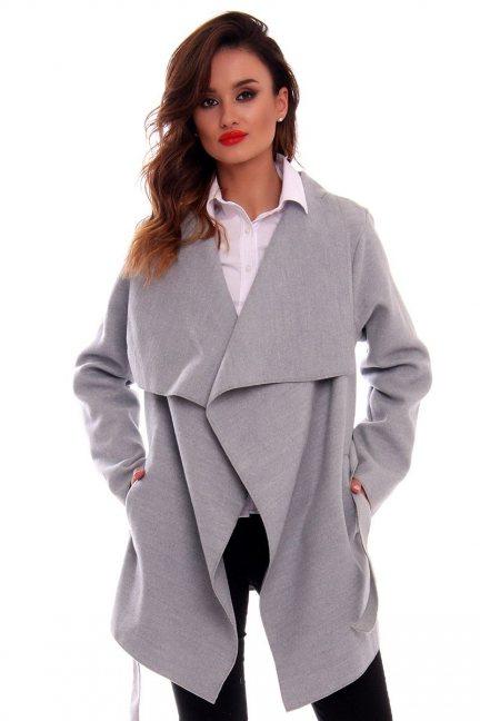 Płaszcz damski wiązany CM481 szary