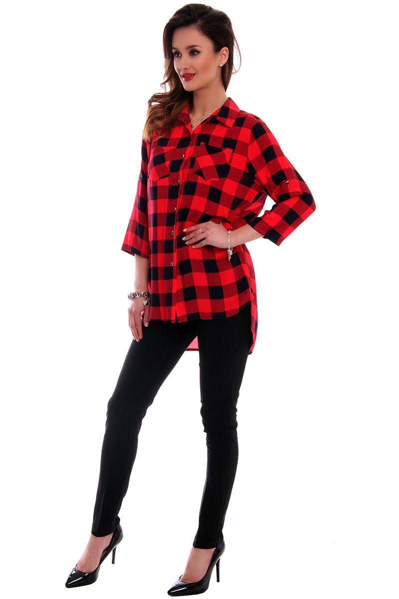 b8cb26136540bb ... kratkę czerwona; Asymetryczna koszula damska; Koszula zapinana na  guziki ...