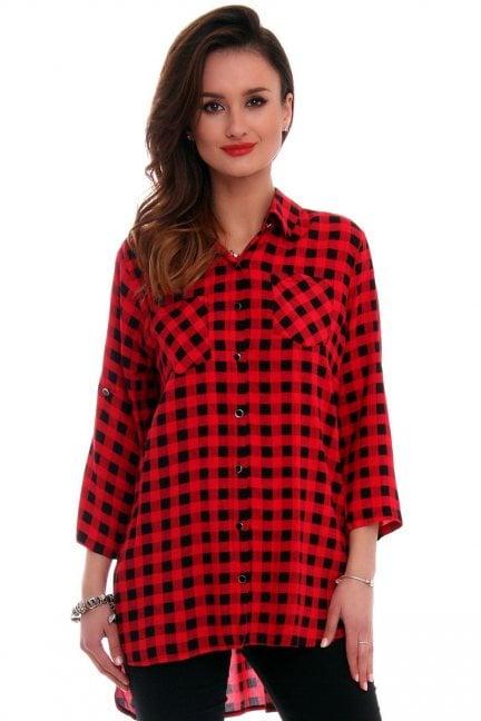 Koszula damska w kratkę CMK534 czerwona