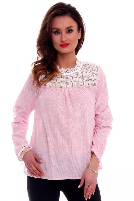 Bluzka damska z haftem CMK535 różowa