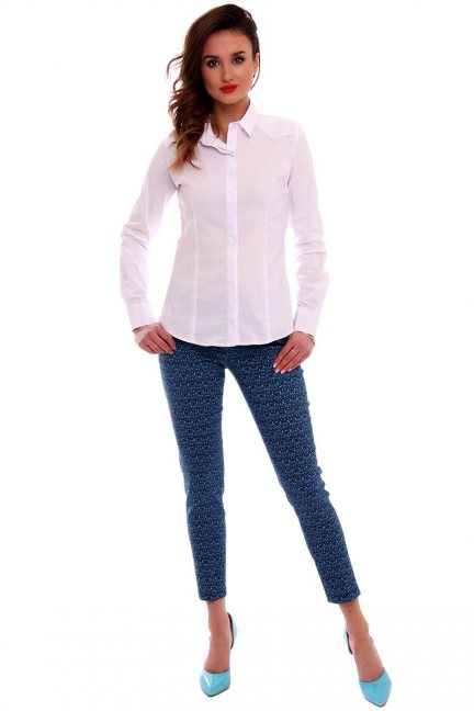 Spodnie rurki we wzory CMK540 chabrowe