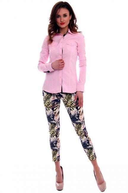 Spodnie rurki w kwiaty CMK544 ecru