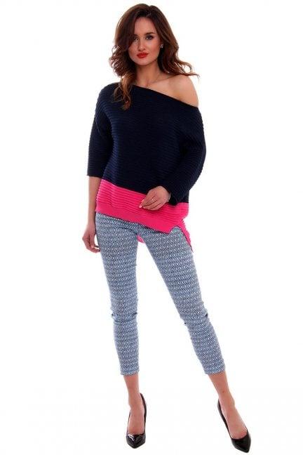 Spodnie rurki we wzory CMK546 niebieskie