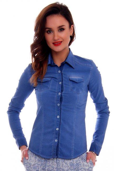 Koszula dopasowana gładka CMK63 niebieska