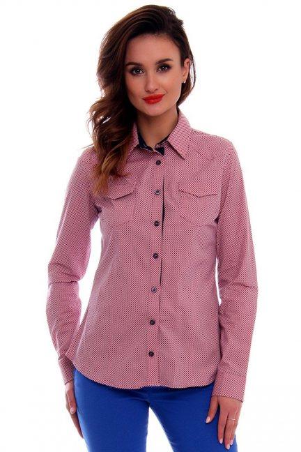 Koszula damska w kropki CMK66 różowa