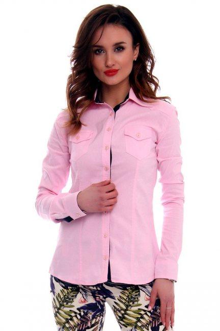 Koszula dopasowana gładka CMK63 różowa