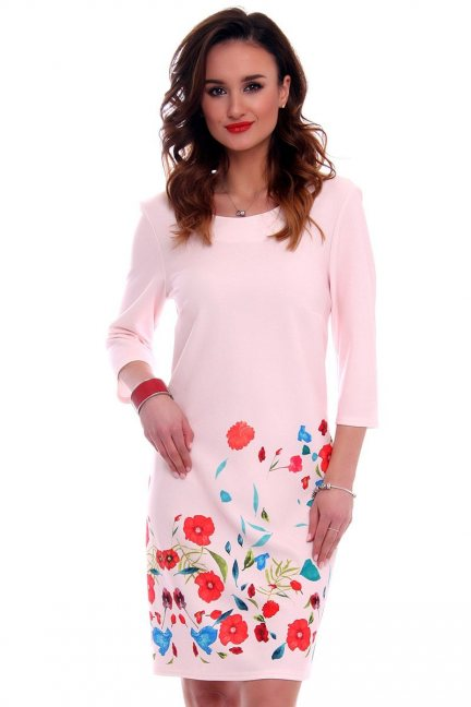 Sukienka midi w maki CMK554 różowa