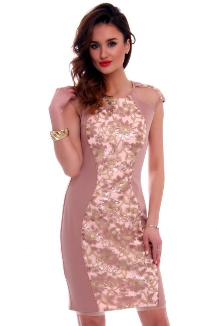Sukienka dopasowana kwiaty CMK555 brudny róż