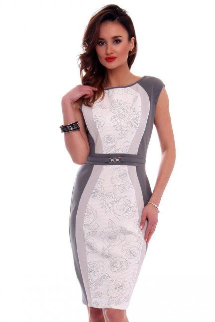 Sukienka elegancka w róże CMK557 szara
