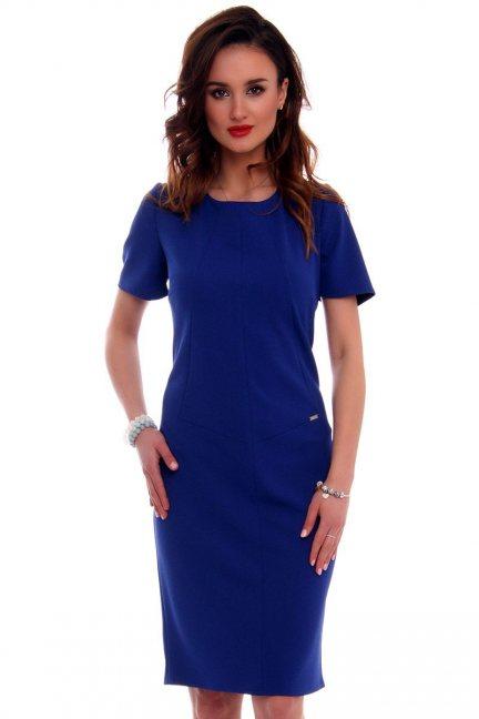 Sukienka ołowkowa CMK559 chabrowa