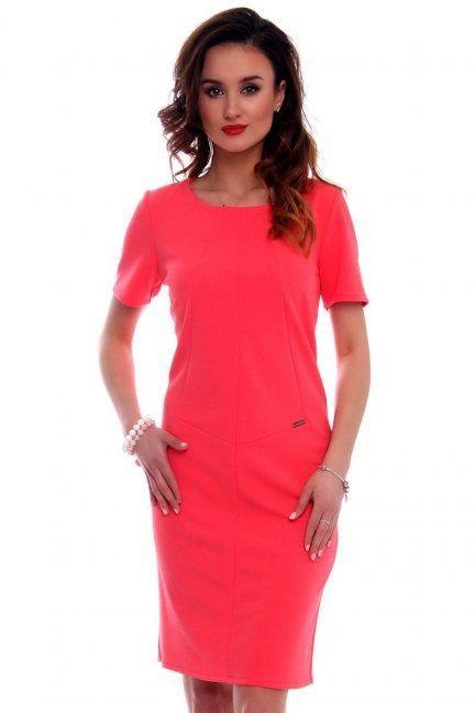 Sukienka ołowkowa CMK559 koralowa