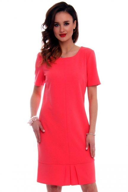 Sukienka z zakładkami CMK560 czerwona