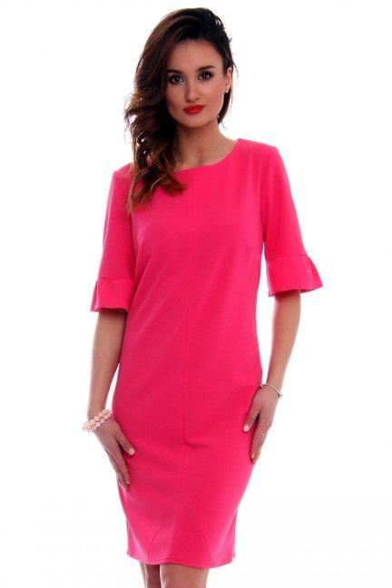 Sukienka ołówkowa damska CMK561 różowa