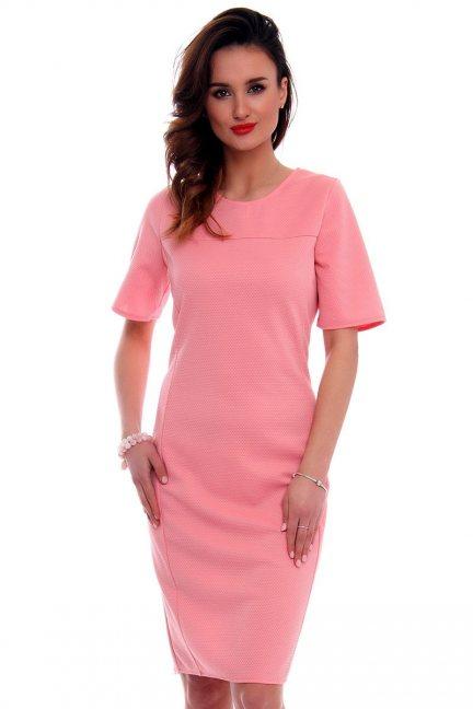 Sukienka dopasowana CMK562 różowa