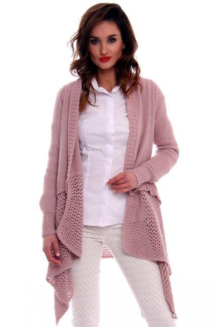 Sweter kardigan asymetryczny CMK574 brudny róż