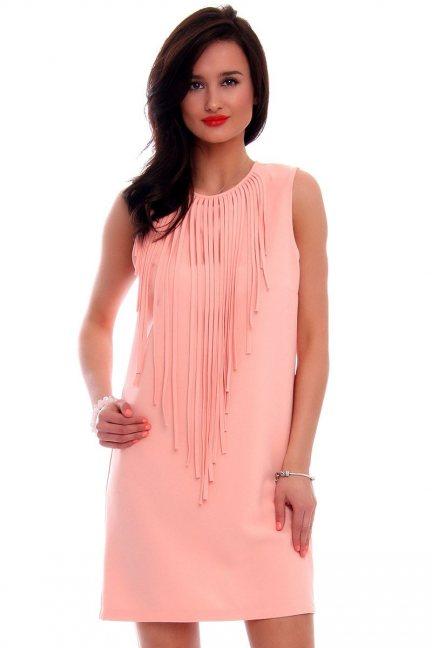 Sukienka mini z frędzlami CM593 morelowa