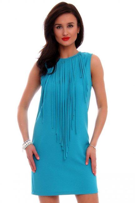 Sukienka mini frędzle CM593 turkusowa