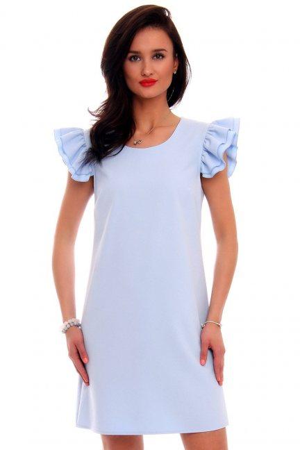 Sukienka koktajlowa z falbankami CMK581 błękitna
