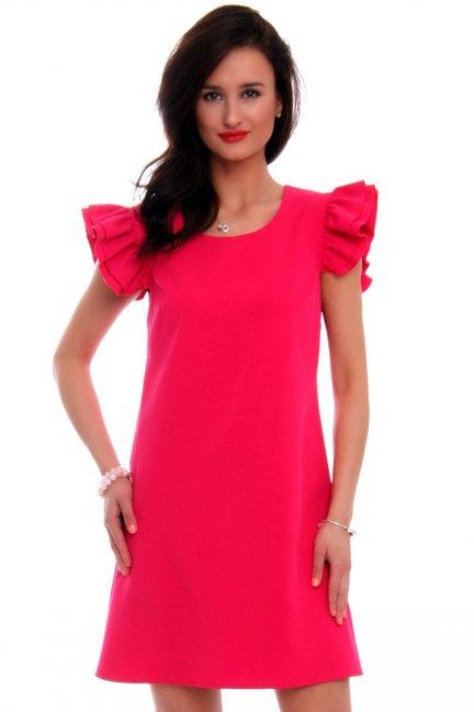Sukienka koktajlowa falbanki CMK581 fuksja