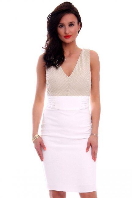Sukienka ołówkowa midi CMK591 biała