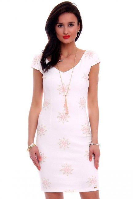 Sukienka dopasowana kwiaty CMK592 ecru