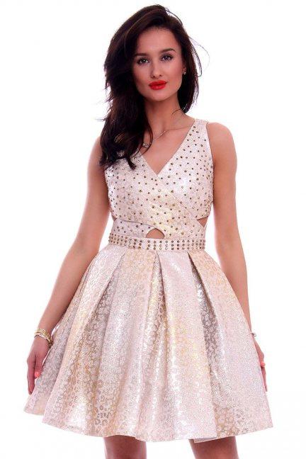 Sukienka damska z ćwiekami CMK594 beżowa