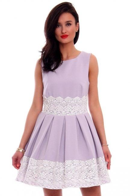 Sukienka ażurowy wzór CMK596 szara