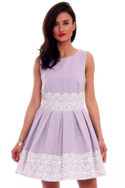 Sukienka rozkloszowana haft CMK596