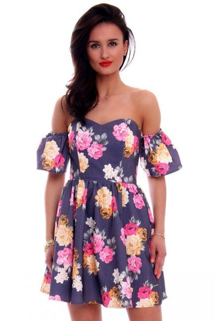 Sukienka gorset w kwiaty CMK599 granatowa