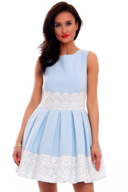Sukienka klosz ażurowy wzór CMK596 błękitna