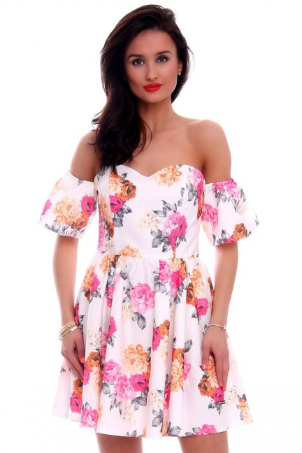 Sukienka gorset w kwiaty CMK599 biała