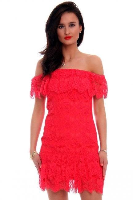 Sukienka koronka falbanki CMK601 koralowa