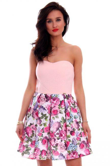 Sukienka kwiaty z gorsetem CMK598 pudrowy róż