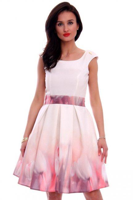 Sukienka klosz tulipany CMK597 ecru