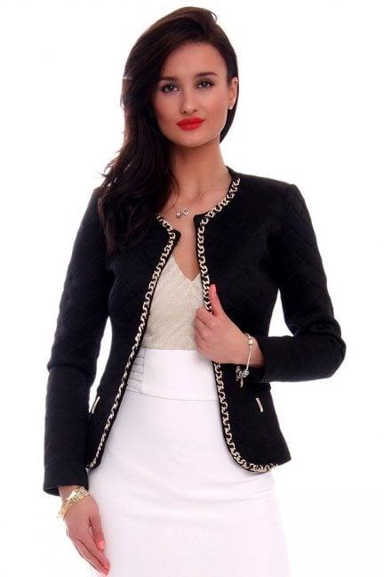Elegancki pikowany żakiet CMK464 czarny
