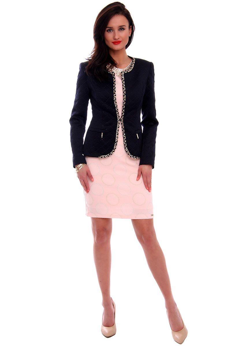 09bf0a7dbbd14 Elegancki pikowany żakiet CMK464 czarny modna odzież damska CosmosModa