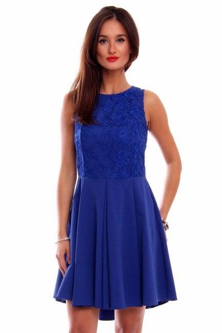 Sukienka koronka dłuższy tył CM519 chabrowa