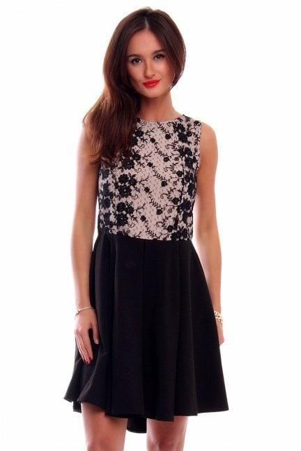 Sukienka koronka dłuższy tył CM519 czarno-beż