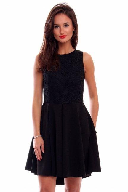 Sukienka koronka dłuższy tył CM519 czarna