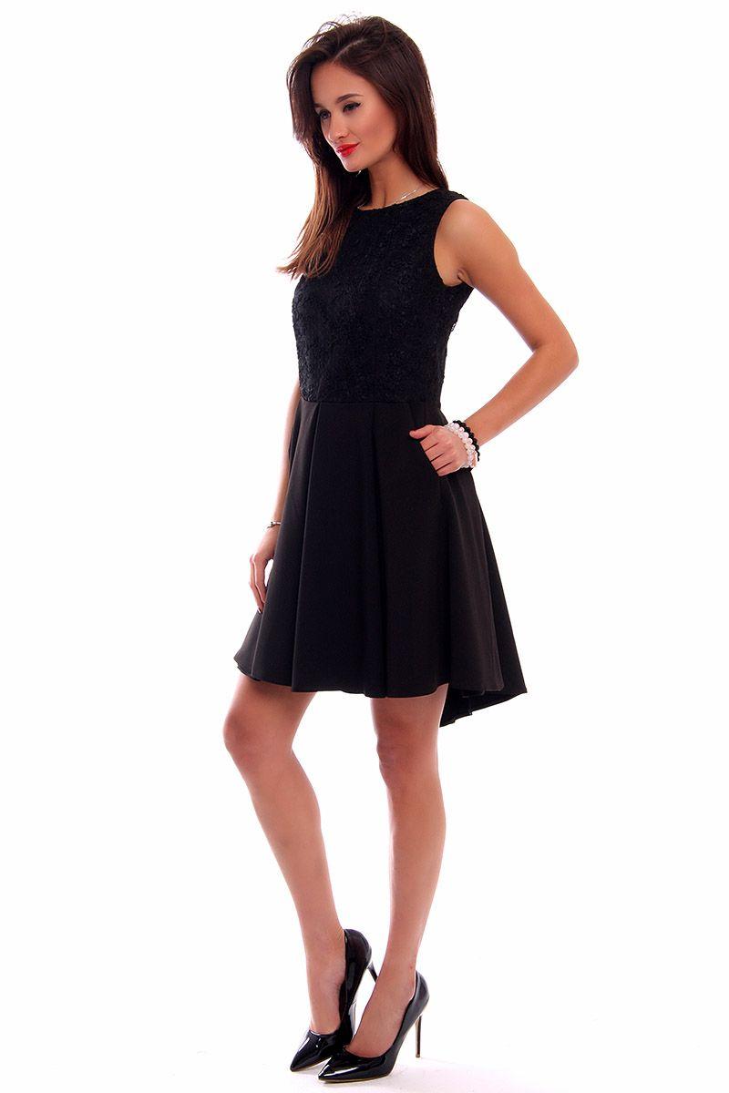 541d9ebb Sukienka koronka dłuższy tył CM519 czarna odzież damska CosmosModa